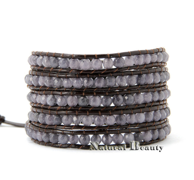 Cool Curved Stones Leather Wrap Bracelet Beaded Bracelets Mens