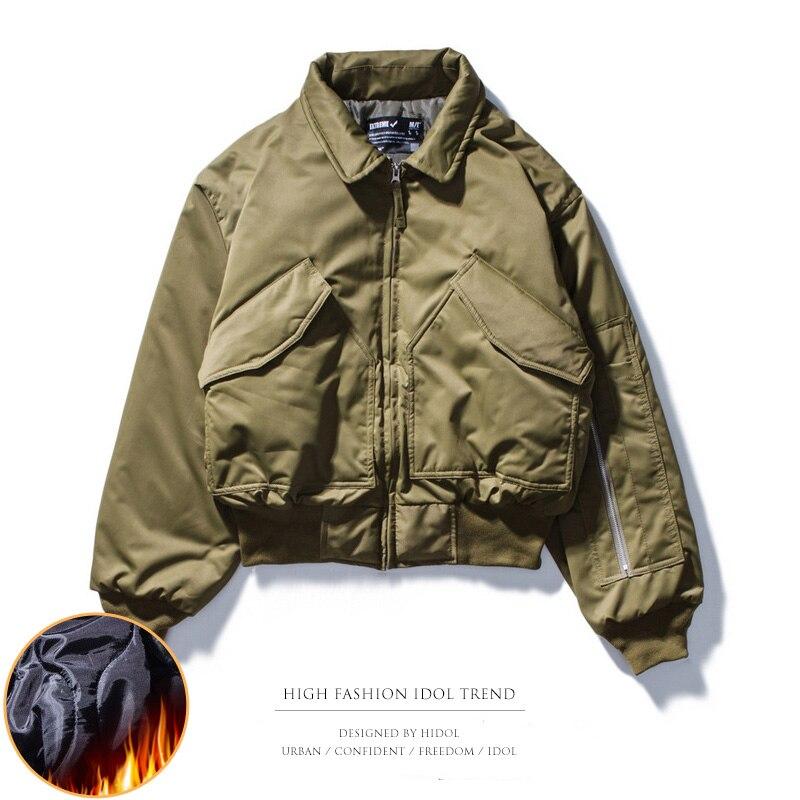 Winter Thick Oversize Military Flight Pilot Air Force   Parka   Coat Vintage Zipper Pocket MA1 Bomber Jacket Men Retro Hip Hop Swag