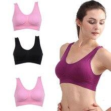 Hot Sell Women Soft Sports Bra Yoga Fitness Stretch Workout Tank Top Seamless Pa