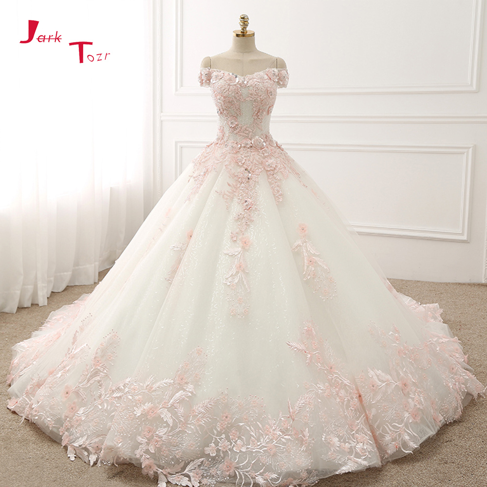 Jark Tozr Custom Made Short Sleeve Full Shiny Beading Crystal Light Pink Appliques Flowers Princess Ball