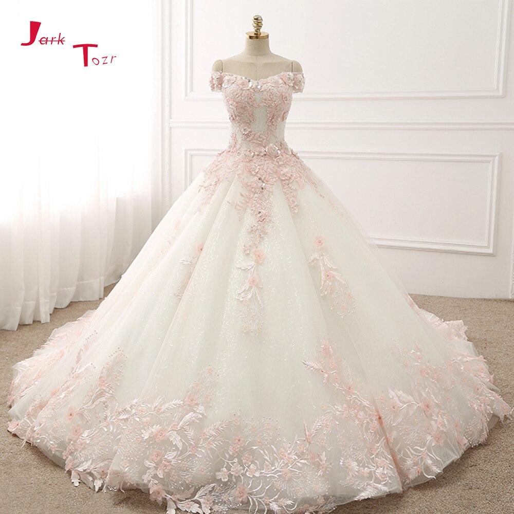 Jark Tozr индивидуальный заказ короткий рукав полный блестящие бисер Кристалл светло розовый аппликации цветы принцесса бальное платье свадеб