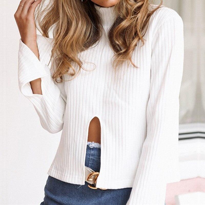 2017 mujeres del suéter de manga larga blusa camisa blanca de cuello alto flojo