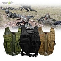 Outlife Tactical Vest Camouflage Hunting Vest Multi Pockets Military Tactical Vests CS Outdoor Molle Armor Body Army Jungle Vest