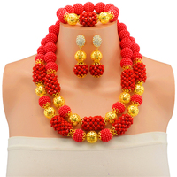 Fashion Splendid RedCrystal Costume Necklaces Nigerian Wedding African Beads Jewelry Set