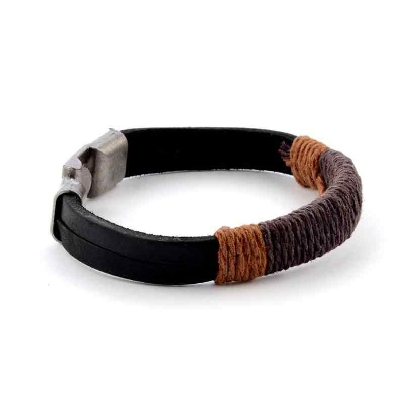 21 cm הגולש קאף שחור חום גברים של בציר קנבוס לעטוף עור צמיד צמיד פאנק סגנון צמיד פילס צמת