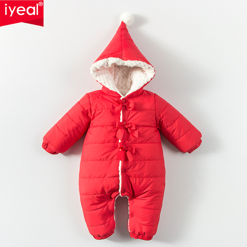 IYEAL New Fashion Christmas Baby Girl Clothes Cotton Newborn Rompers Winter Baby Snowsuit Thick Warm Toddler Jumpsuits 0-18 baby romper girl rompers christmas baby clothes newborn christmas baby gift new born cotton baby christmas clothes 1pcs lot a mc