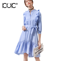 Kuk Pink Blue Shirt Dress Women Summer 2017 Casual Button Vetement Femme Half Sleeve Ruffle Sundress