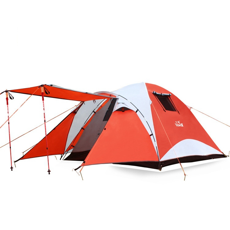 Outdoor Camping Tent 4 Person Double-layer Tent  Waterproof Aluminum Rod Tent Family Tent One Bedroom One Living Room naturehike 3 person camping tent 20d 210t fabric waterproof double layer one bedroom 3 season aluminum rod outdoor camp tent