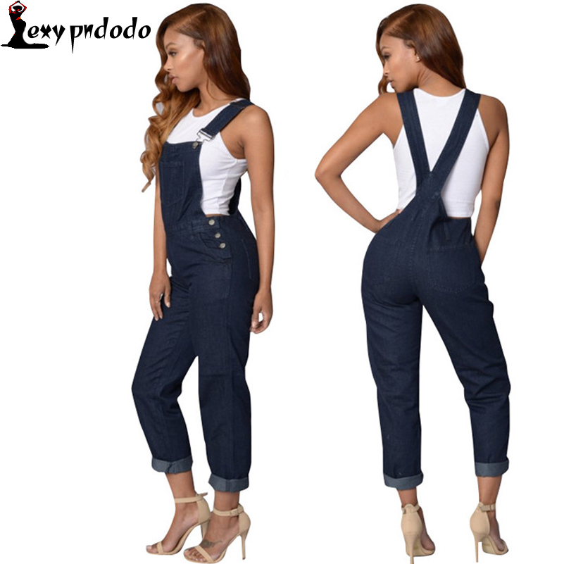 2016 High Waisted Jeans Sexy Backless Sleeveless Straps Balmai Women Embroidered Jeans Plus Size Bodysuit Woman Denim Coveralls
