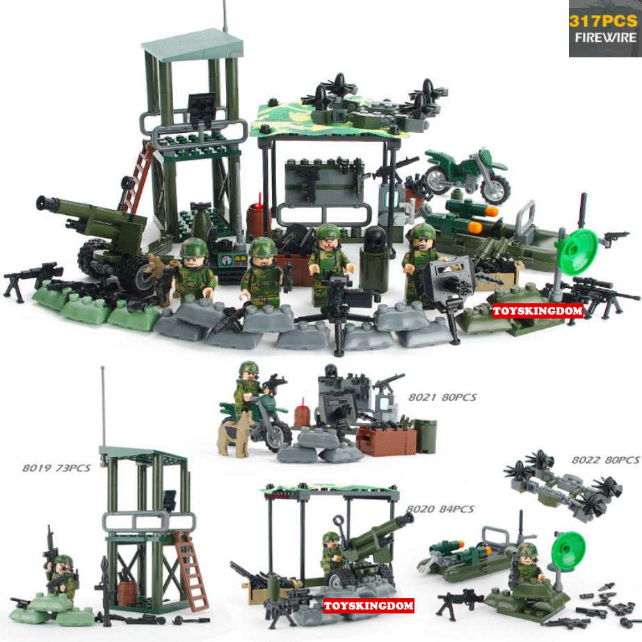 Modern military FireWire strive brickmania figures moc building block ww2 army forces minifigs base artillery weapon gun toys