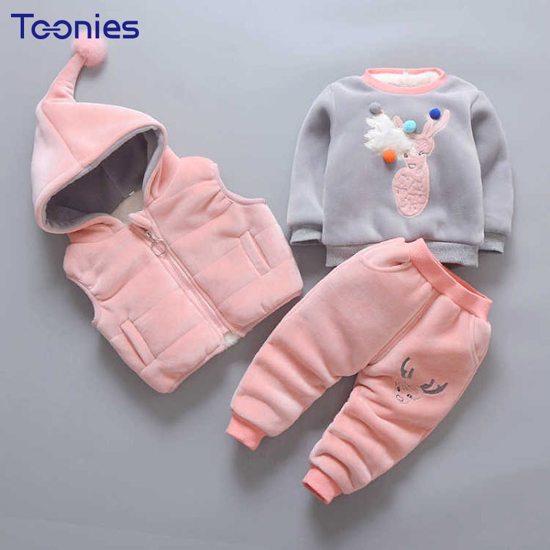 Baby Sportswear Cashmere Pants Suit Thickened Cotton Children Clothes 2018 Winter Infant Suits Long Sleeves Unisex Clothing Sets