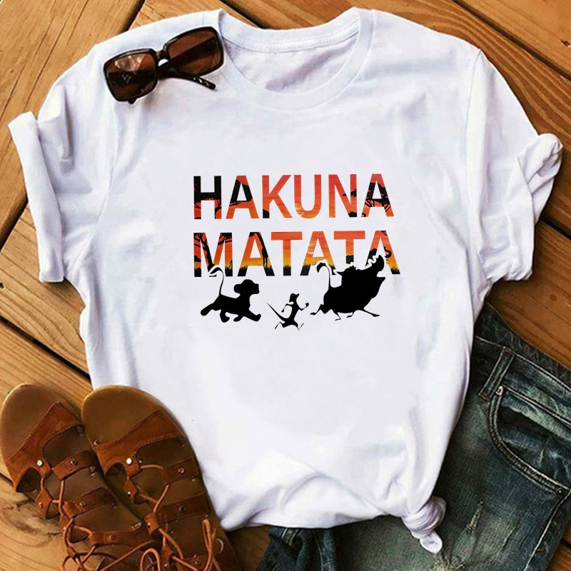 New Hot Bestie   Shirts   Woman Cotton Hakuna Matata Ullzang Lion King Print Leisure   T  -  shirt   Short Sleeve O Neck Tshirt