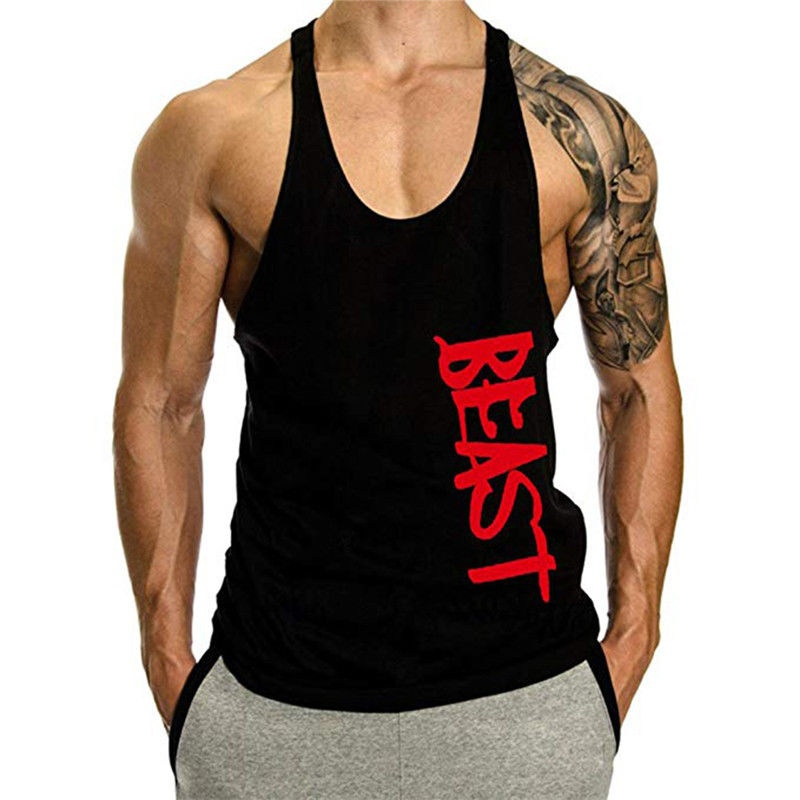 OA Men Beast Bodybuilding Stringer Gyms   Tank     Top   Fitness Singlet Cotton Sleeveless Shirt Muscle Vest