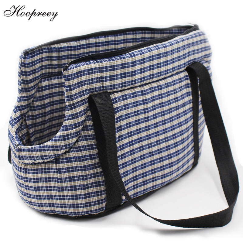 Portable Pet Dog Carrier Bag Outdoor Travel Bags for Small Dogs Plaid Cotton Shoulder Carrying Puppy