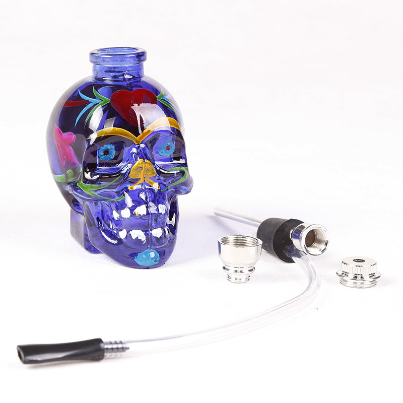 1pc top fashion punk ghost head skull style mini <font><b>Smoking</b></font> Tobacco Pipe Glass Weed Water Pipes Chicha Nargile Hookah Accessory