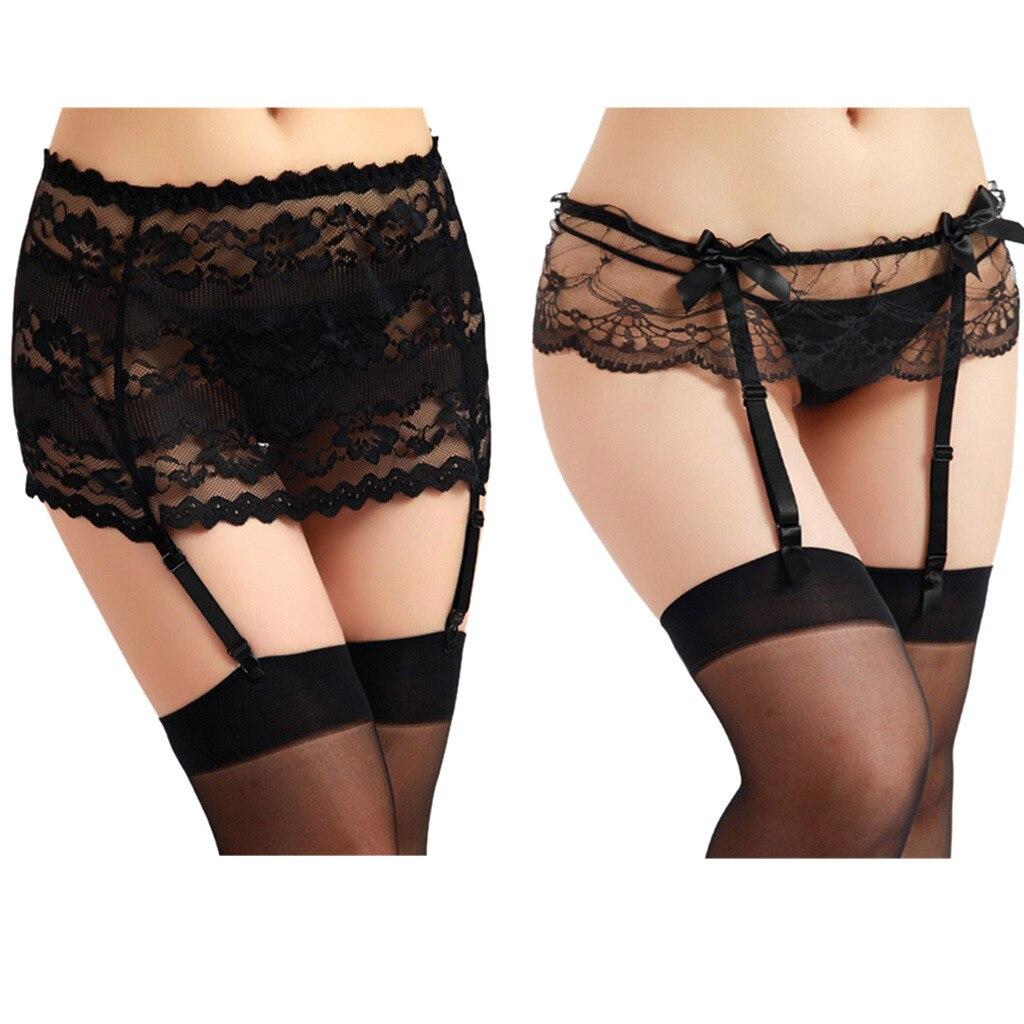 Sexy Women Lace Garter Belt Lingerie Stockings Underwear Babydoll Female Lady Mujer Sheer Lace Camisas Thigh-Highs Medias De #25