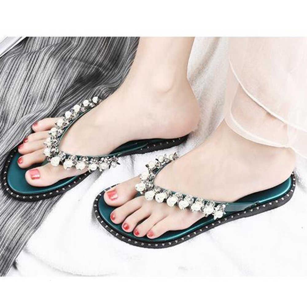 小説女性のフリップフロップサンダル真珠の靴夏のビーチ多彩なフラットサンダル Bohi ひもスリッパ背中で casuai 靴