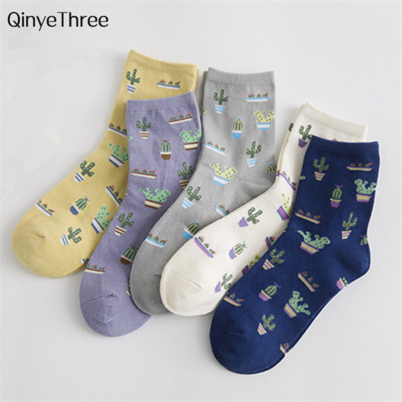 Cartoon Plant Cactus Pattern   Socks   Girls Comfortable Cute Cotton Casual Soft   Socks   sokken Warm Short Women   Socks   meias Drop ship