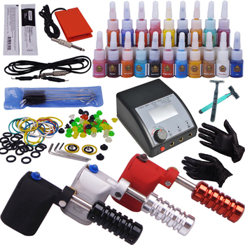 3pcs top rotary tattoo machine 20 colors ink 50pcs needles tip grip power supply set complete tattoo kit professional
