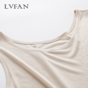 Image 2 - Summer New tops Women Tanks breathable Silk Solid basic Vest Round neck top Sleeveless bottoming Large Size shirt  LVFAN Y008