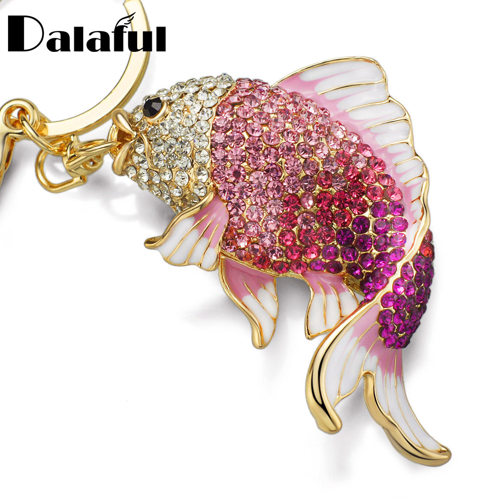 Dalaful Lovely Enamel Crystal Fish Key Chain Holder Goldfish Bag Buckle HandBag Pendant For Keychains Car KeyChains K239