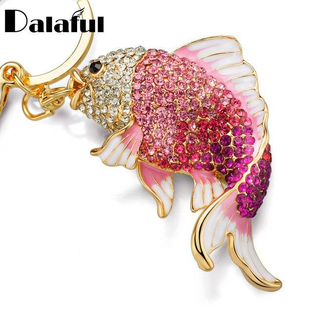 Dalaful Tinh Tế Men Pha Lê Fish Key Chains Chủ Goldfish Bag Khóa Túi Xách Mặt Dây Cho Xe Hơi Dây Móc Khóa Móc Khóa K239
