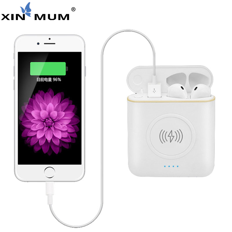 XIN MUM 5200 mah Draadloze Power Bank TWS 3 in 1 Stereo Bluetooth Oortelefoon Hoofdtelefoon Opladen Doos Telefoon Oplader Accu - 2