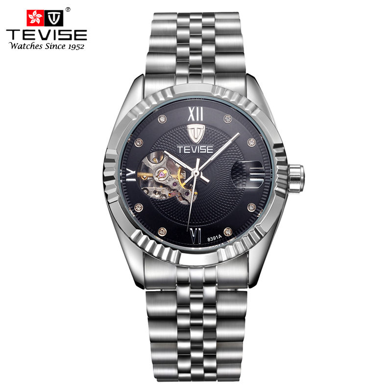 TEVISE Mens Automatic Watch Skeleton Mechanical Self Wind Stainless Steel Watches Men Luxury Luminous Analog Wristwatches 8391A все цены