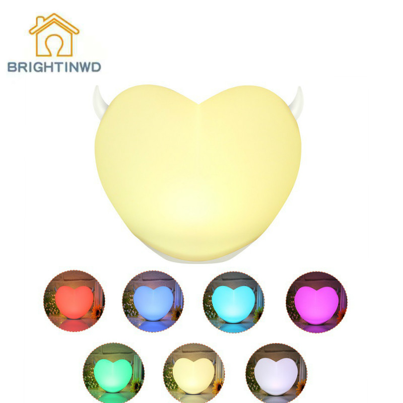 BRIGHTINWD New LED Colorful Pat Light Heart-shaped Silicone Lamp Creative Gift Night Light Bed Head Feeding Atmosphere Lamp цена