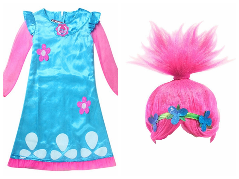 Wearing a wig  Girls Dress Child Costumes Christmas Costumes For Girls Net Yarn Sleeve Teenage Girls Clothing Dresses