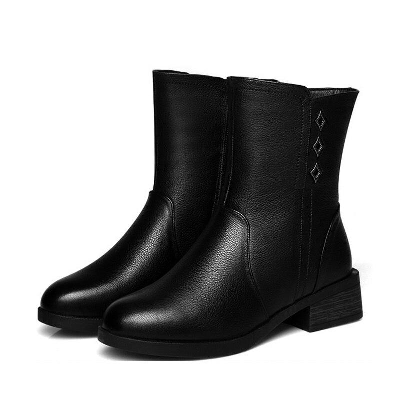 Laine Bottes Mode Vachette Hiver Noir Nouvelle 2018 Confortable Chaussures En Alishinrey Femmes De Chaud Cuir Neige Martin wPEqxH1