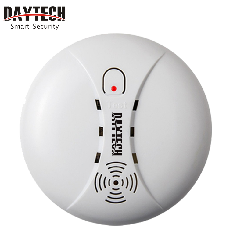 DAYTECH Wireless Smoke Detector Sensor Portable Fire Alarm Sensor Battery Operation For Our Home Security Alarm System 433MHz