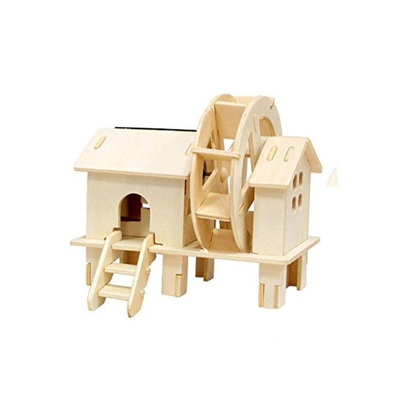 Solar Power Energy 3D Wooden Jigsaw Puzzle Toy DIY Kits Brick Wood Windmill For Child Educational