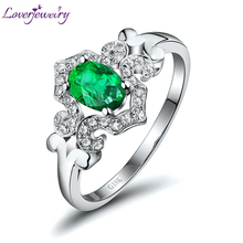 Loverjewelry New Design Genuine Natural Emerald Ring With Diamond Solid 18K White Gold Oval 4x6mm Gemstone Women Ring Jewelry