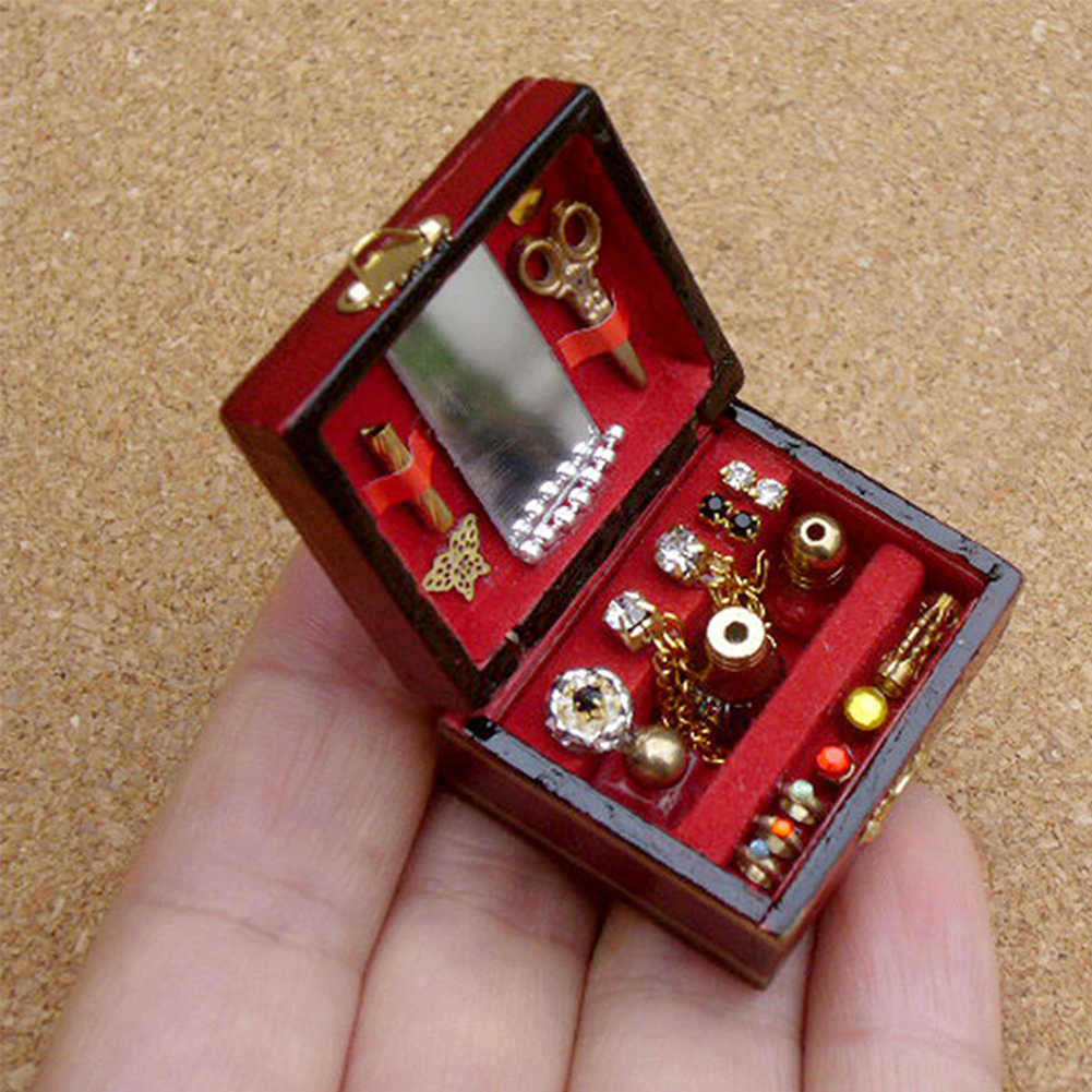 Игрушка миниатюрные украшения классические аксессуары шкатулка для ювелирных изделий детская мебель 1/12 Мини Роскошный орнамент кукла подарок для дома