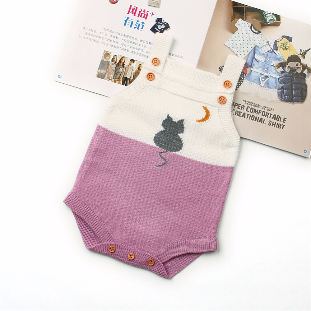 Newborn Baby Girl Body Suits Summer Sleeveless Toddler Boys Overalls Cute Cat Knit Infant Kids One Piece Coverall Jumpsuit 0-18M