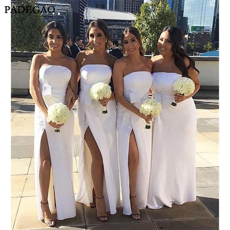 New White Mermaid   Bridesmaid     Dresses   Strapless Sleeveless Pleat Side Split Formal Wedding Guest Party   Bridesmaid     Dress