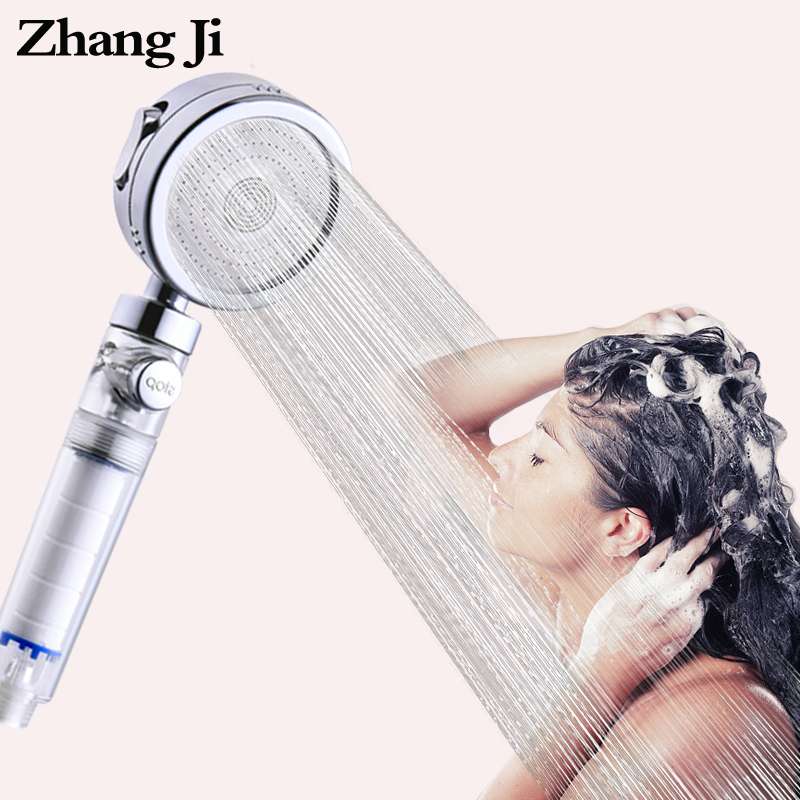 ZhangJi 3-Function Filter Shower Head With Stop Switch Bathroom Multifunction Showerhead Electroplated Water Saving Sprayer