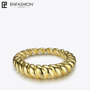 Image 5 - Enfashion Pure Form Twist Rings For Women Gifts Gold Color Brass Wave Men Ring Fashion Jewelry Bague Anillo Jewellery RF184005