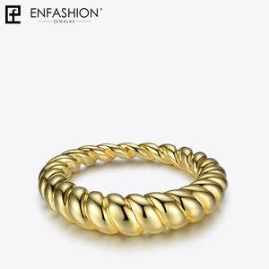 Image 5 - Enfashion PureแบบTwistแหวนของขวัญGold Color Waveแหวนแฟชั่นเครื่องประดับBague Anilloเครื่องประดับRF184005