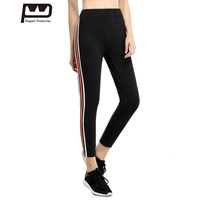 New Woman Black Sport Pants High Waist Elastic Yoga Running Fitness Long Pants Stripe Slimming Trouser