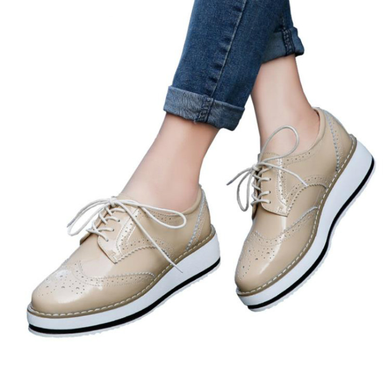 LZJ Brand Spring Women Platform Shoes Woman Brogue Patent   Leather   Flats Lace Up Footwear Female Flat Oxford Shoes For Women B366