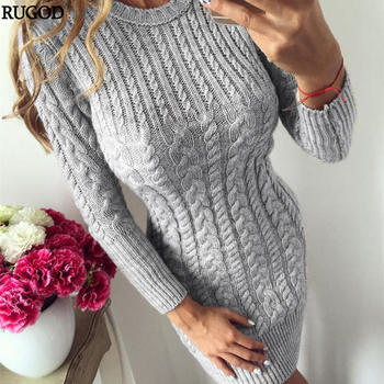 RUGOD 2020 New Autumn Winter Warm Sweater Dress Women Sexy Slim Bodycon Dress Female O neck Long Sleeve Knitted Dress Vestidos 7