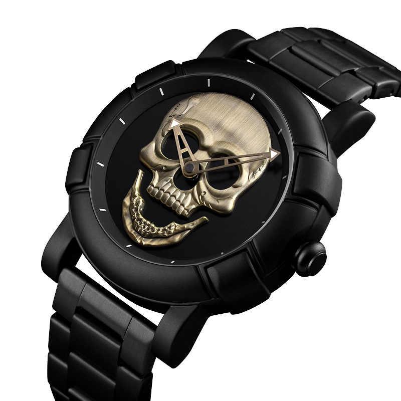 Cool punk style Pirate squelette crâne Quartz hommes montres maille acier sport noir montre hommes Relogio Masculino SKMEI 2018
