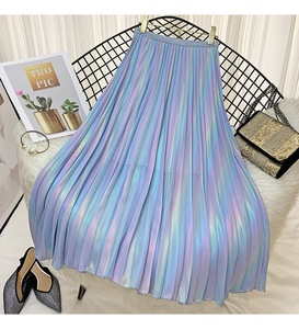 Image 3 - 2019 Autumn  New Arrival Korean Style Rainbow Laser Design Sense Gradient Chiffon Skirt Vintage Pleated Skirt Free Shipping