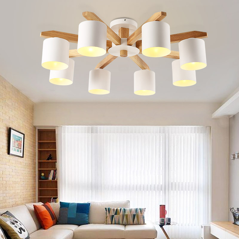 Modern Chandelier lighting Nordic E27 With Iron Lampshade For Living Room Suspendsion Lighting Fixtures Lamparas Wooden Lustre