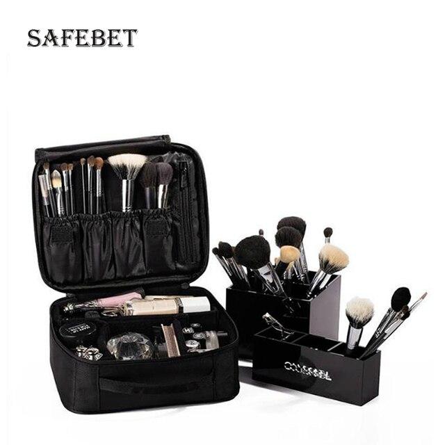 Moda cosméticos organizador joya Oxford caso cosméticos pincel de maquiagem caixa de armazenamento portátil com zíper designer de mala de viagem