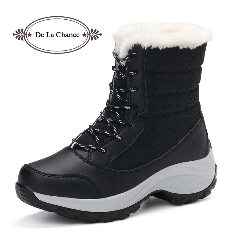 De La Chance Waterproof Snow Boots Women Winter Boots Female Plush Mid-calf Women Lace Up Shoes Wedge Heel Bootie Warm Fur Black de la chance winter women boots high quality female genuine leather boots work