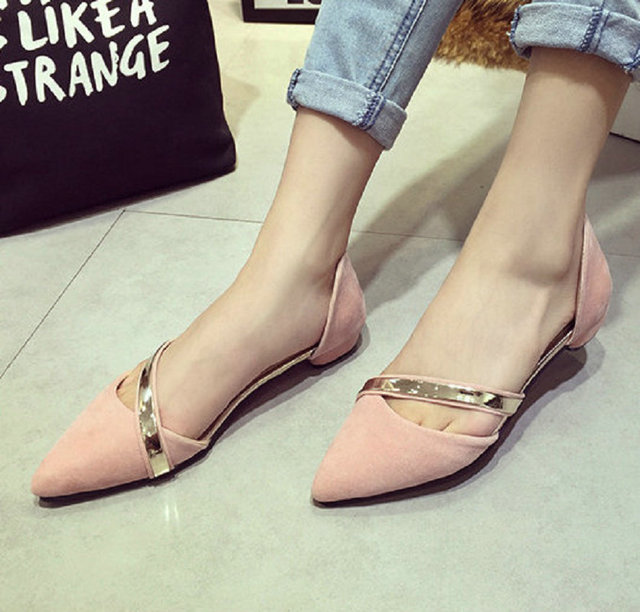 2017 New Fashion Autumn Ladies Flats High Quality Casual Metal Shoes Women  Flat Heels soft Leather Pointed Toe Flat Women Shoes d8deea670b73