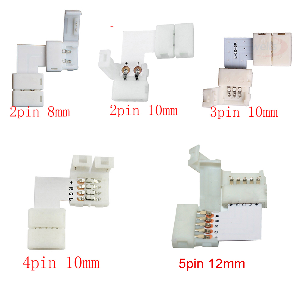 5set L Shape 2pin 3pin 4pin 5pin LED Connector For Connecting Corner Right Angle 5050 SMD RGB RGBW 3528 2811 2812 LED Strip